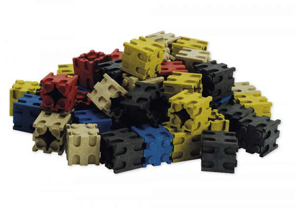 Set Rechen-Steckwürfel aus RE-Wood, 100-tlg., 2x2 cm, 5-farbig