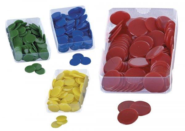 Plastik-Chips vollfarbig, einfarbig, 100 St.-Box
