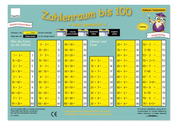 "TimeTEX Zaubertafel ""Mathematik"" Zahlenraum bis 100"