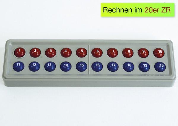 ABACO 20 mit Zahlen, rot-blau, Zähl- und Rechenrahmen
