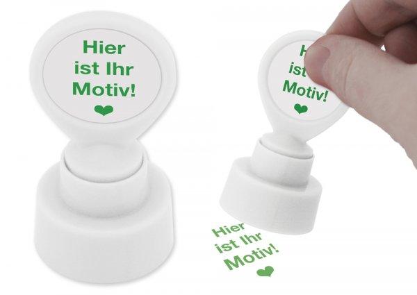 Individual-Siebdruck-Stempel, rund, 25 mm ø, grün