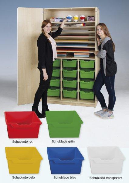 Material-Hochschrank L, Sondertiefe, 8 Fachböden, 12 Schubladen XL