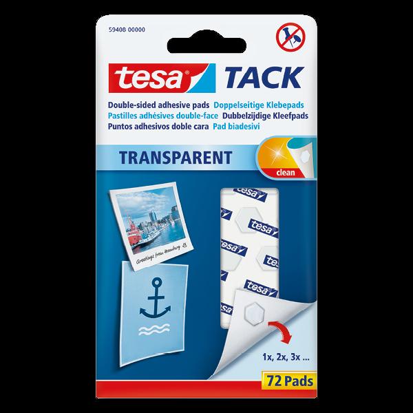 tesa® TACK Doppelseitige transparente Klebepads, 72 Stück