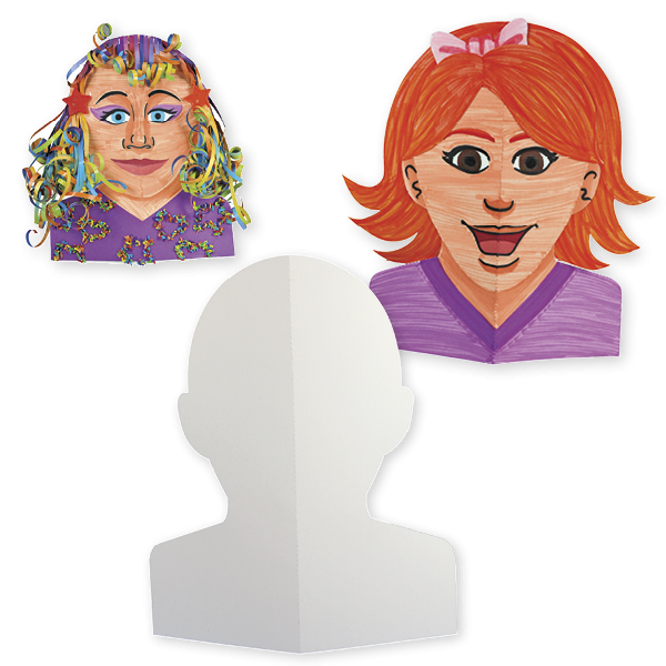 Aufklappbare Papp-Gesichter zum Selbstgestalten, 40 Stück