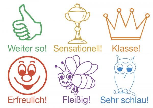 """Set Holz Lehrer-Stempel 6-tlg. """"Motivation"""", versch. Farben"""