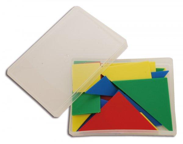 Tangram aus Kunstst. opak, 28-tlg. = 4 Tangrame in Box