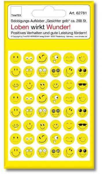 """Belobigungs-Aufkleber, """"Gesicht gelb"""", 288 Stück"""