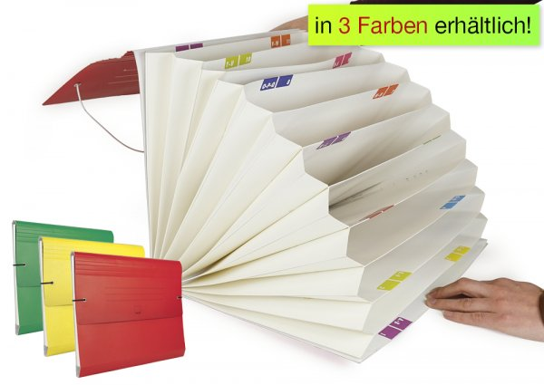 Fächermappe aus Pappe A4-Plus, farbig