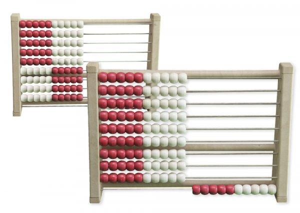 Rechenrahmen für 100-er Zahlenraum rot/weiß