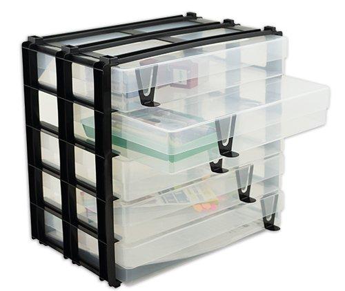Schubladen-Block mit 5 Kunststoff-Boxen A4, stapelbar