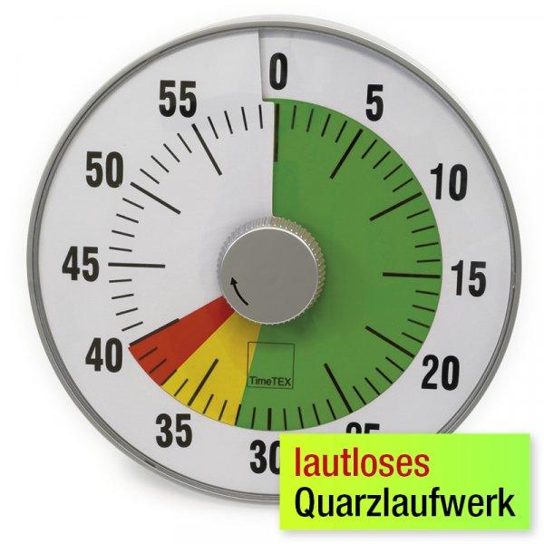 """TimeTEX Zeitdauer-Uhr """"lautlos"""" L, 19 cm ø mit Ampelscheibe"""