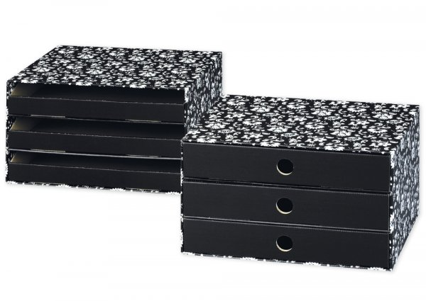 Schubladen-Box A4, Pappe mit 3 Schüben