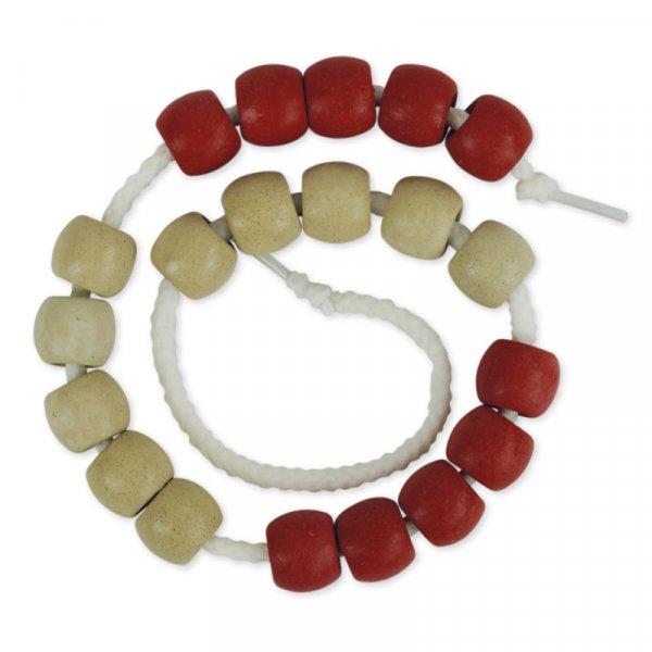 Rechenkette XL aus RE-Wood, 20-er weiß/rot