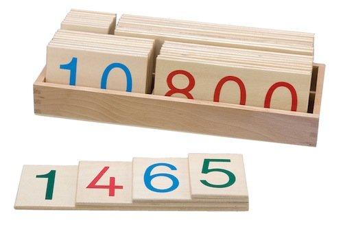 Hölzerner Zahlenkartensatz groß, Komplettset, 37-tlg.