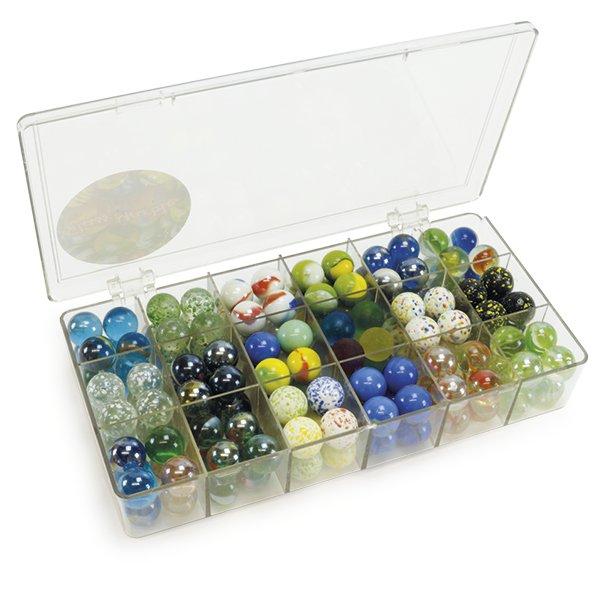 """Glas-Murmeln """"Faszination"""" in Box, 144 Stk., ca. 16 mm ø"""