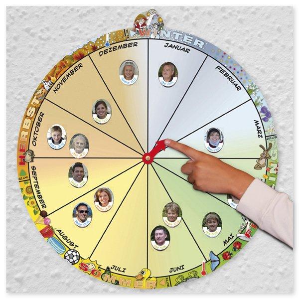 Geburtstags-Kalender rund, mit Bildetiketten oval