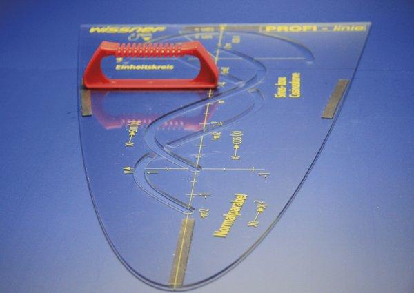 Profi-Parabelschablone 50 cm, magnetisch, mit Griff