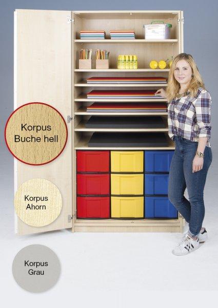 Material-Hochschrank M, Extratiefe, 7 Fachböden, 9 Boxen XL