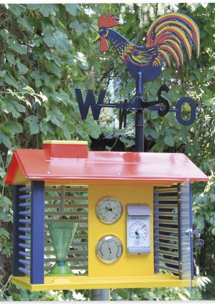 Wetterwarte aus Kunststoff mit Instrumenten + Wetterhahn