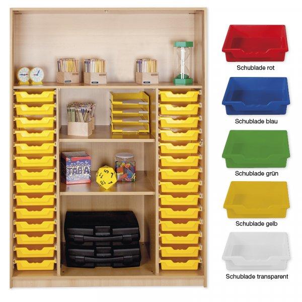 Material-Hochschrank-Regal XL, Plustiefe, 4 Fachböden, 28 Schubladen L