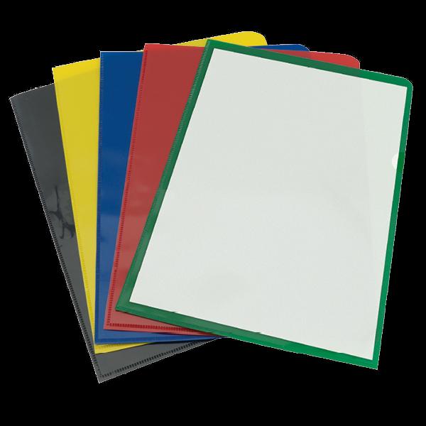 Set Dokumenten-Hüllen A4 mit farbigem Rücken, 5-tlg.