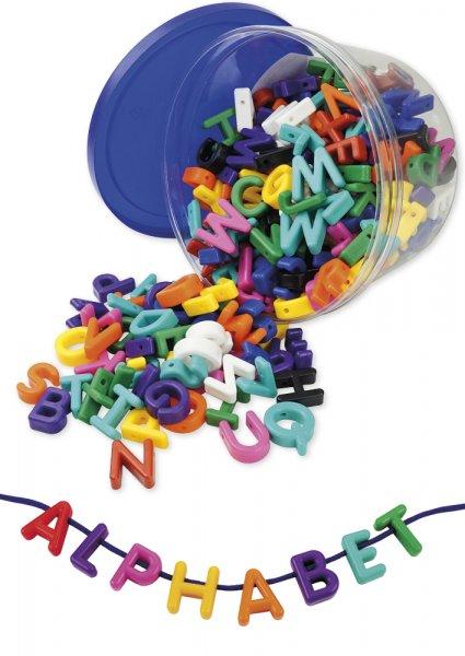 Groß-Buchstaben zum Auffädeln, farbig sortiert, 276-tlg. in Box