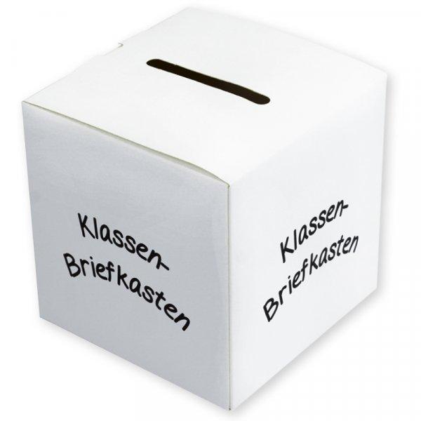 Klassen-Briefkasten weiß, mit Schlitz zum Einstecken