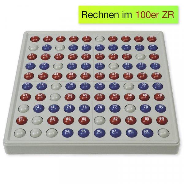 ABACO 100 mit Zahlen, rot-blau, Zähl- und Rechenrahmen