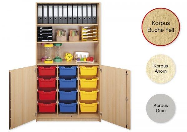 Material-Kombi-Hochschrank-Regal L, Plustiefe, 3 Fachböden, 12 Schubladen XL