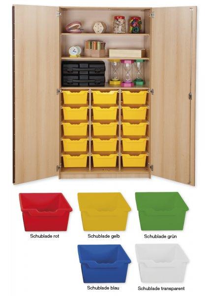 Material-Hochschrank L, Plustiefe, 3 Fachböden, 15 Schubladen XL