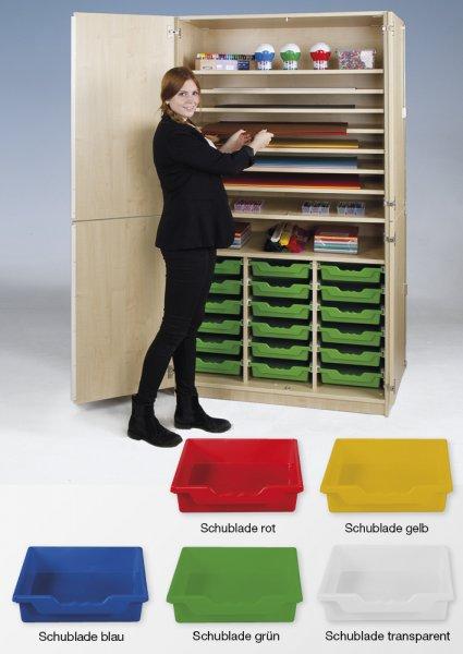 Material-Hochschrank L geteilt, Extratiefe, 9 Fachböden, 18 Schubladen L
