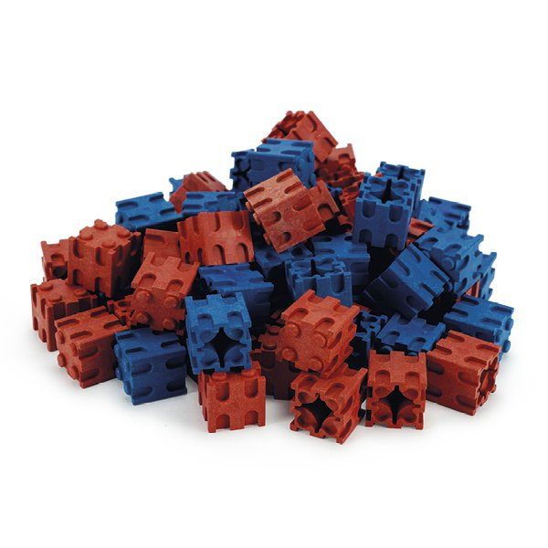 Set Rechen-Steckwürfel aus RE-Wood, 100-tlg., 2x2 cm, rot/blau