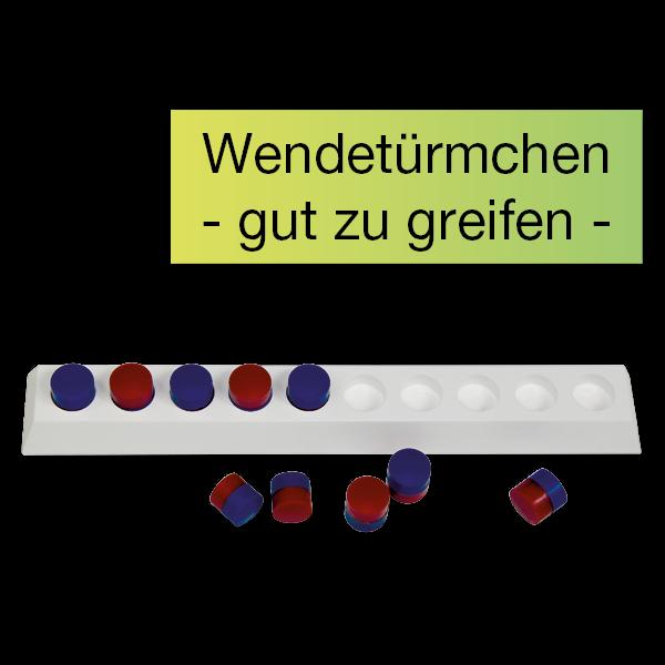 Rechenleiste 3D für den 10er-Bereich, mit Wendetürmchen rot/blau