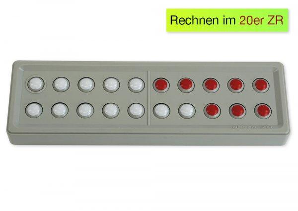 ABACO 20 tricolor rot-weiß, Zähl- und Rechenrahmen