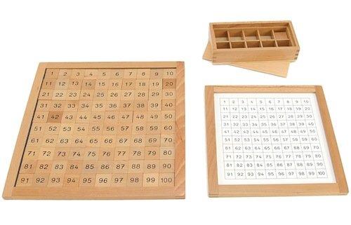 Hunderterbrett, mit Kontrolltafel und Holz-Box, 103-tlg.
