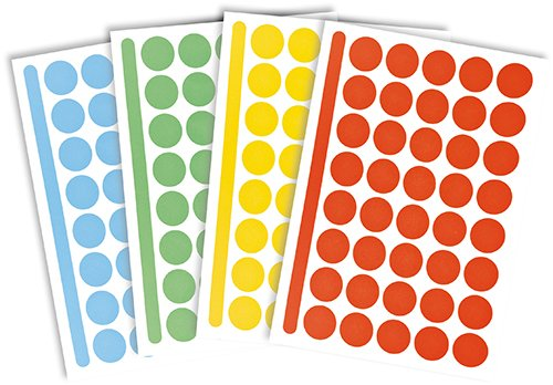 Set Signal-Punkte selbstklebend, 19 mm, 1280-tlg., 4 Farben