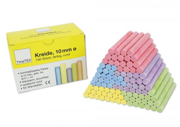 Kreide 10 mm ø, farbig, im 100-er Pack