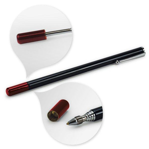 Teleskop-Korrigier-Stift rot mit Clip + 2 Ersatz-Minen