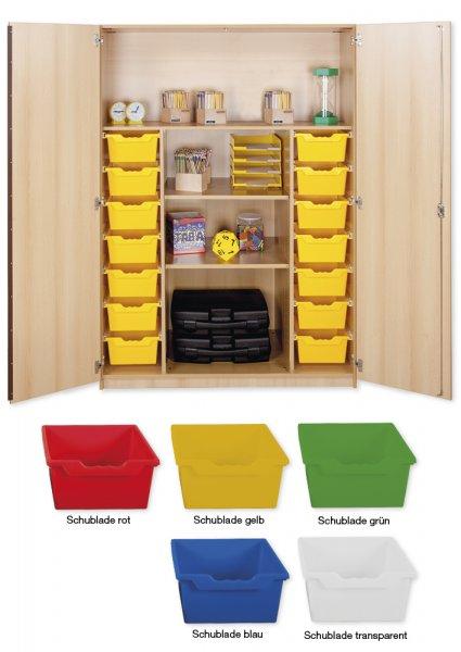 Material-Hochschrank XL, Plustiefe, 4 Fachböden, 14 Schubladen XL