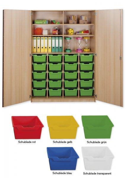 Material-Hochschrank XXL, Plustiefe, 6 Fachböden, 20 Schubladen XL