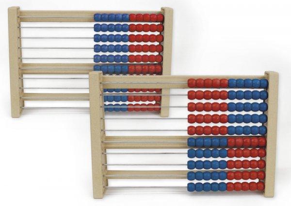 Rechenrahmen für 100-er Zahlenraum rot/blau