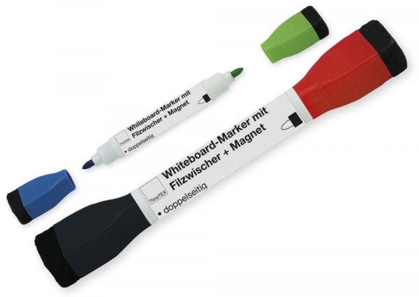 Whiteboard-Marker Doppelspitze mit Filzwischer + Magnet