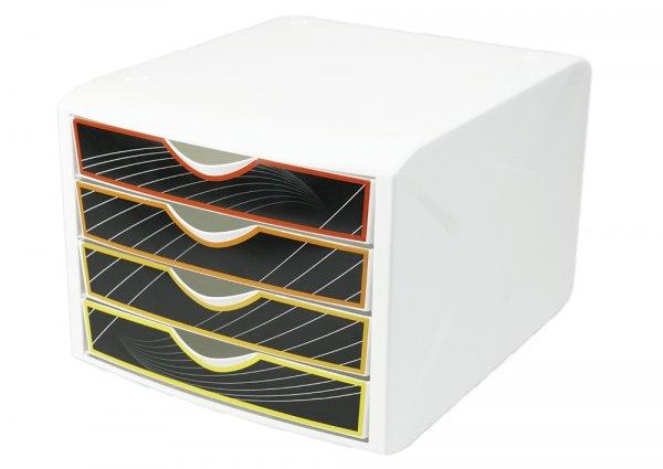 Schubladen-Box A4, Kunststoff mit 4 Schüben