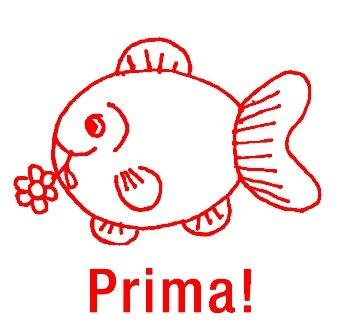 """Siebdruck-Stempel """"Perpetuum"""", Fisch """"Prima!"""""""