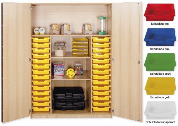 Material-Hochschrank XL, Basistiefe, 4 Fachböden, 28 Schubladen L