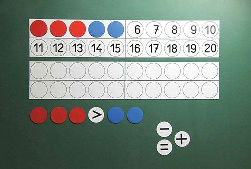 Demo-Rechenleisten/Plättchen-Set bis 20, magnetisch, 40-tlg.