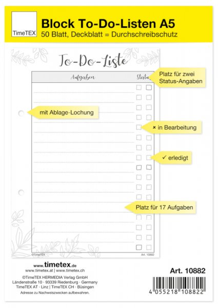 Block To-Do-Liste A5, 50 Blatt