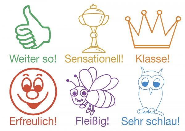"""Lehrer-Stempel aus Holz """"Motivation"""", 6-tlg."""
