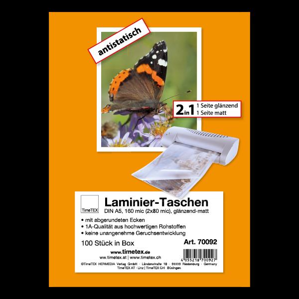 Laminier-Taschen 2in1 A5 2x80 mic glänzend-matt, 100 Stück
