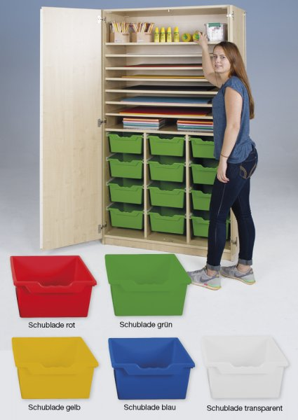 Material-Hochschrank L, Extratiefe, 8 Fachböden, 12 Schubladen XL